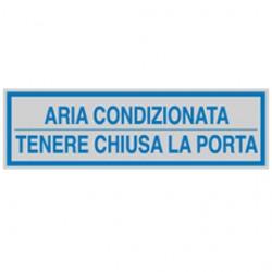 TARGHETTA ADESIVA 165x50mm ARIA CONDIZIONATA ... - Conf da 10 pz.