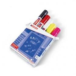 BUSTA 5 MARCATORE EDDING 4090 COLORI nero, rosso, bianco, giallo fluo, rosa fl