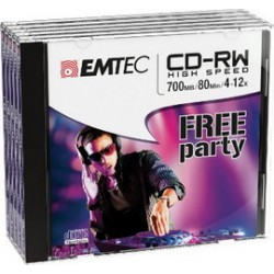 CD-RW EMTEC 80MIN/700MB 4-12x JEWEL CASE (kit 5pz)