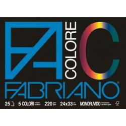 BLOCCO FABRIANO 5  COLORI 25FG 24X33 220GR.