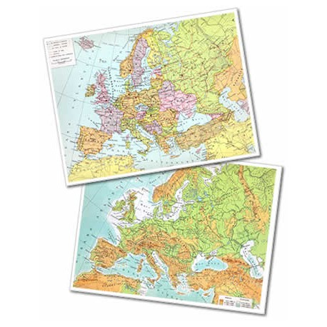 Cartina Geografica Europa Fisica Da Stampare.Cartina Da Tavolo Europa A3 Fisica Politica