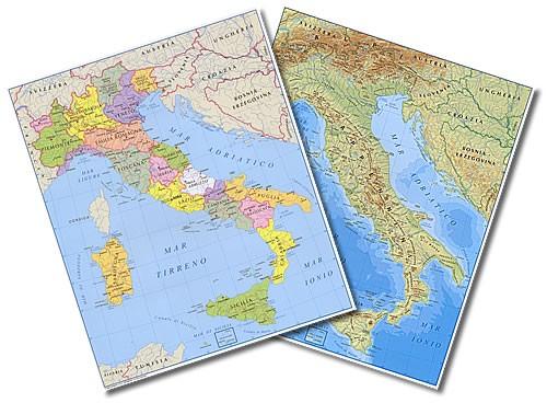 Cartina Politica Italia Formato A3.Cartina Da Tavolo Italia A3 Fisica Politica