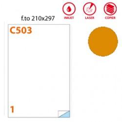 ETICHETTA ADESIVA C/503 ARANCIO FLUO 100FG IN A4 (1 ETICHETTA DA 210X297MM)