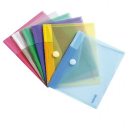SET 6 BUSTE PP CON VELCRO 25x13,5CM COLORI ASSORTITI