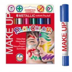 MAKE UP TEMPERA SOLIDA PLAYCOLOR ASTUCCIO CON 6 COLORI METALLIC