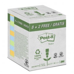 VALUE PACK 10 BLOCCO 100fg Post-it CARTA RICICLATA COL. ASS. 76X76MM 654-RCP10