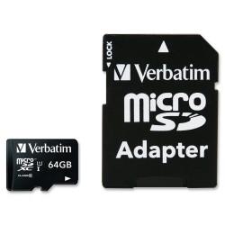 MICRO SDHC Verbatim CLASS 10 Premium 64GB + ADATTATORE