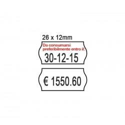 ROTOLO 1000 ETICHETTE 26X12 MM PERMANENTI