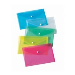 SET 3 BUSTE CON BOTTONE A4-33x24,5cm COLORI Fluo Ass. LEBEZ ART.80438