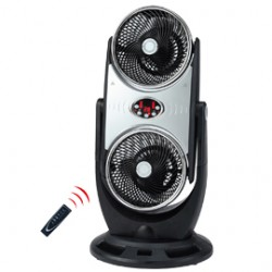 Ventilatore doppio DUO plurifunzione con ionizzatore nero/cromato CFG