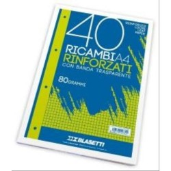 RICAMBIO A4 BIANCO RINFORZATO 80GR 40FG