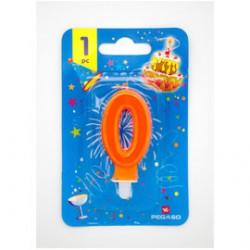 Blister candelina n0 arancio fluo 7cm Pegaso