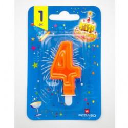 Blister candelina n4 arancio fluo 7cm Pegaso