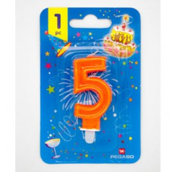Blister candelina n5 arancio fluo 7cm Pegaso