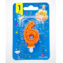 Blister candelina n6 arancio fluo 7cm Pegaso