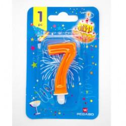 Blister candelina n7 arancio fluo 7cm Pegaso