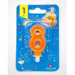 Blister candelina n8 arancio fluo 8cm Pegaso