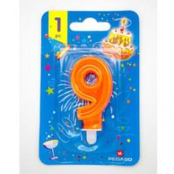Blister candelina n9 arancio fluo 8cm Pegaso