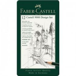 SET CASTELL 9000 DESIGN  12 MATITE GRAFITE 5B-5H